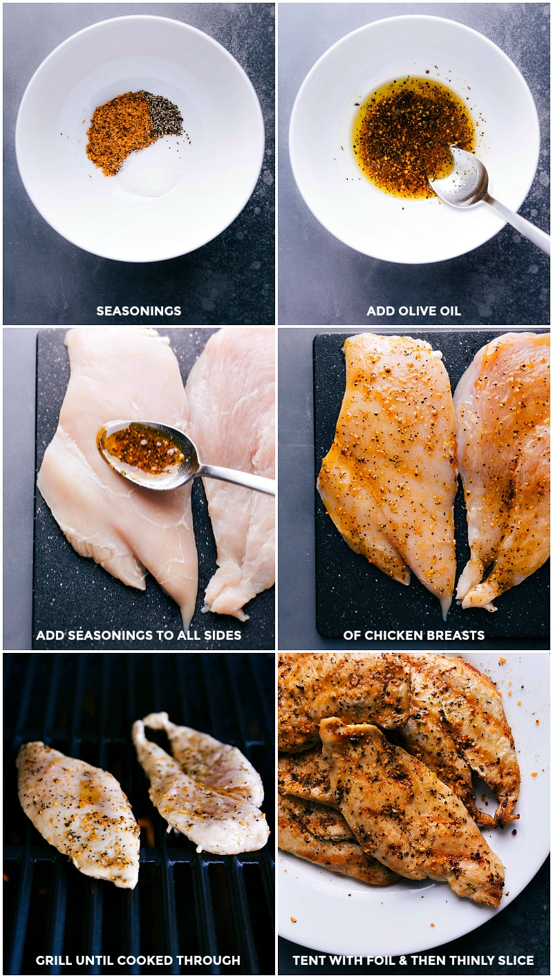 Process shots-- images of the chicken breasts being prepped and grilled for these harvest bowls