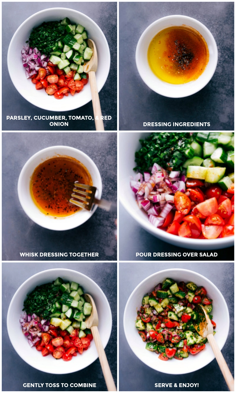 Process shots: Combine vegetables; make the dressing; pour dressing over salad; toss to combine.