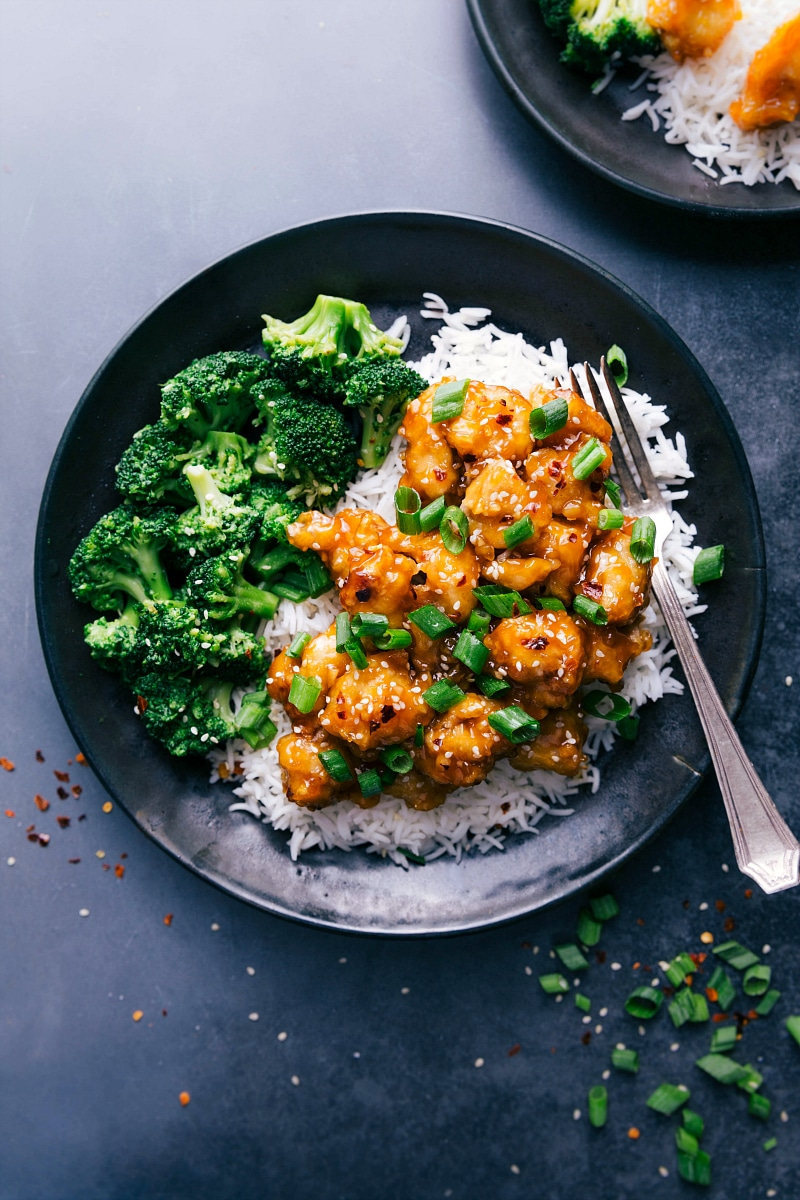 Orange Chicken with rice and broccoli
