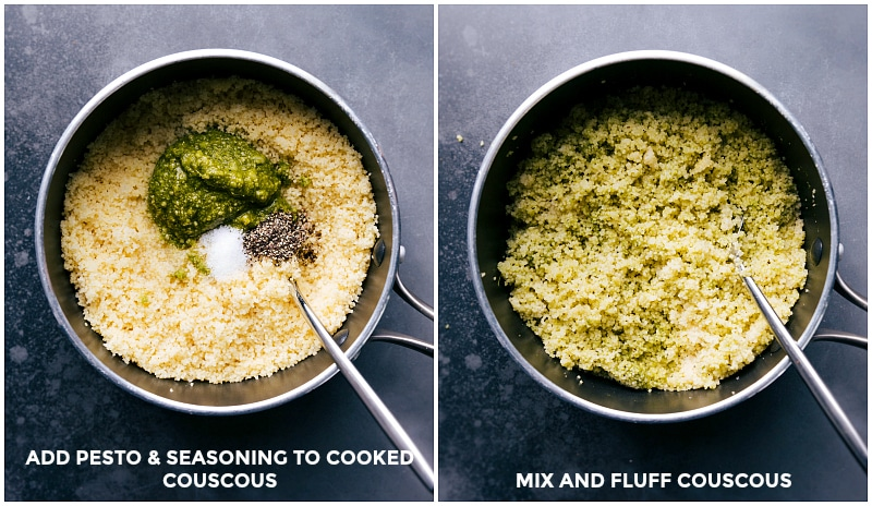 Images of the seasonings being added to the cooked couscous.