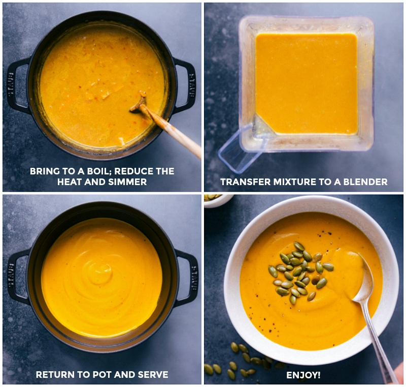 Process shots: simmer the soup; transfer to a blender; process and return to pot; serve.