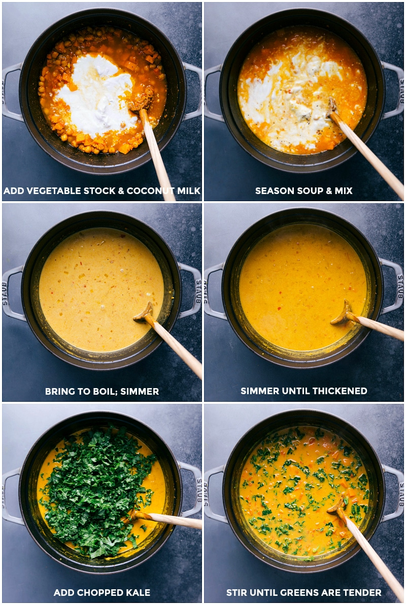 Process steps: adding vegetable stock and coconut milk to the pan; seasoning and bringing to a boil; simmer until thickened; add kale; stir until kale is tender.