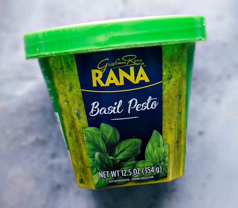 Up-close image of the basil pesto used in this recipe.