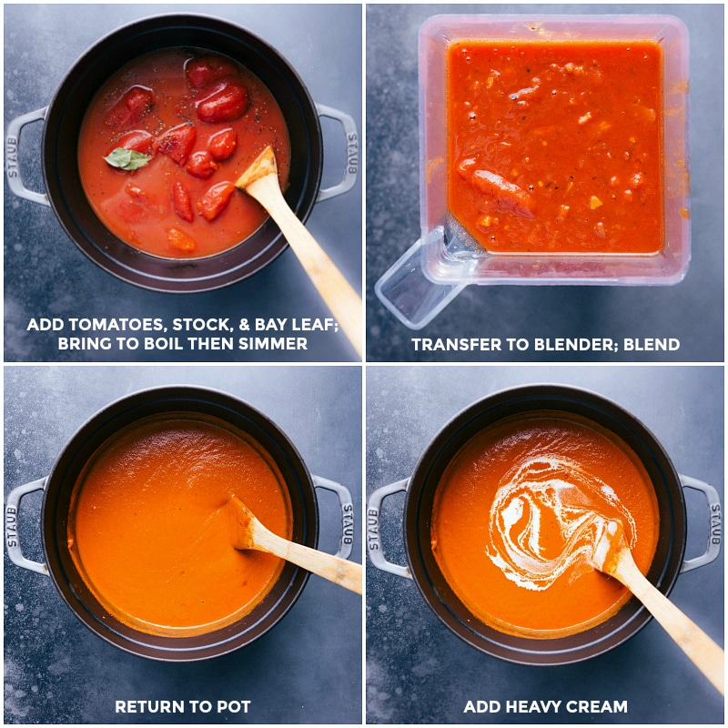 Process shots-- images of the tomatoes being added and then it all being brought a simmer, everything being transferred to a blender, being blend, and then being added back to the pot to add heavy cream