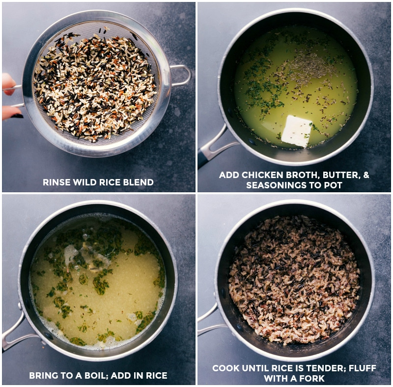Process shots: rinse wild rice blend; add broth, butter and seasonings; bring to a boil and add rice; cook until tender.