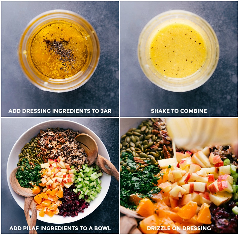 Process shots: make dressing by putting ingredients into a jar and shaking; add the pilaf to the other salad ingredients; drizzle dressing over the salad.