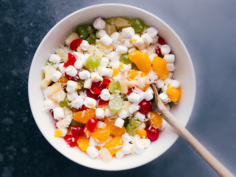 Overhead view of Ambrosia Salad, mixed and ready to serve.
