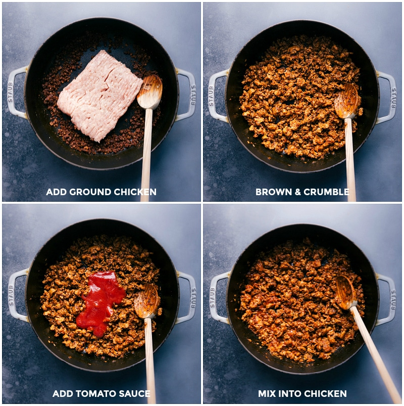 Process shots: add the ground chicken to the pan; brown and crumble; stir in tomato sauce.