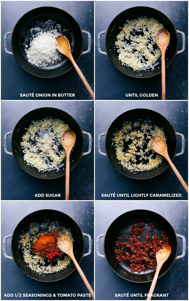 Process shots: sauté onion in butter until golden; add sugar and sauté; add seasonings and tomato paste; sauté until fragrant.
