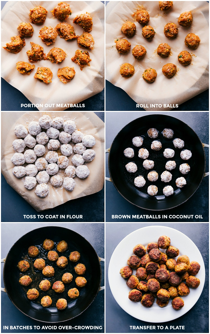 Process shots: portion out meatballs; roll into balls; toss to coat in flour; brown meatballs; transfer to a plate for these butter chicken meatballs.