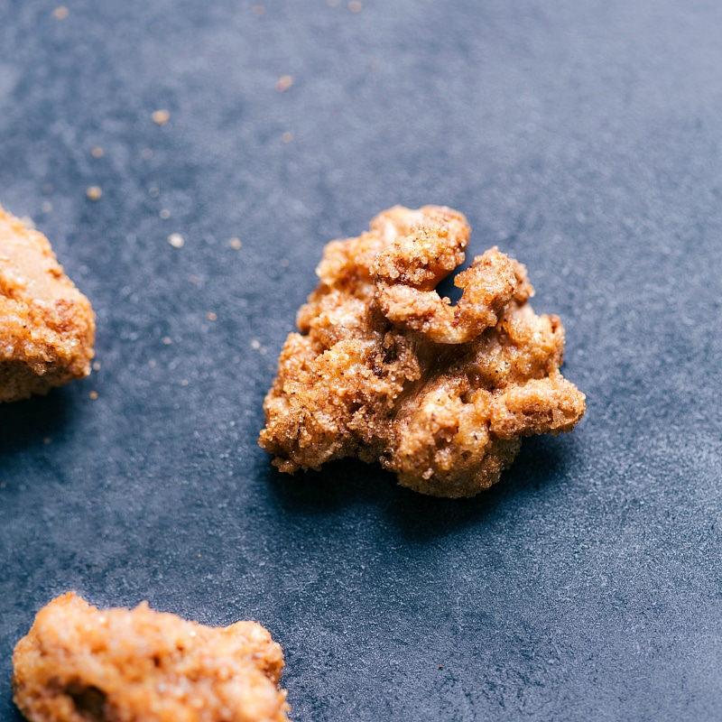 Close-up view of a cluster of Candied Walnuts.