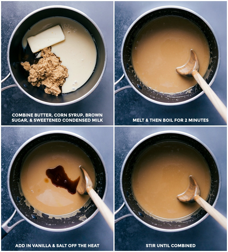 Process shots: Combine ingredients in a saucepan; melt and boil for 2 minutes; add in vanilla and salt; stir to combine.