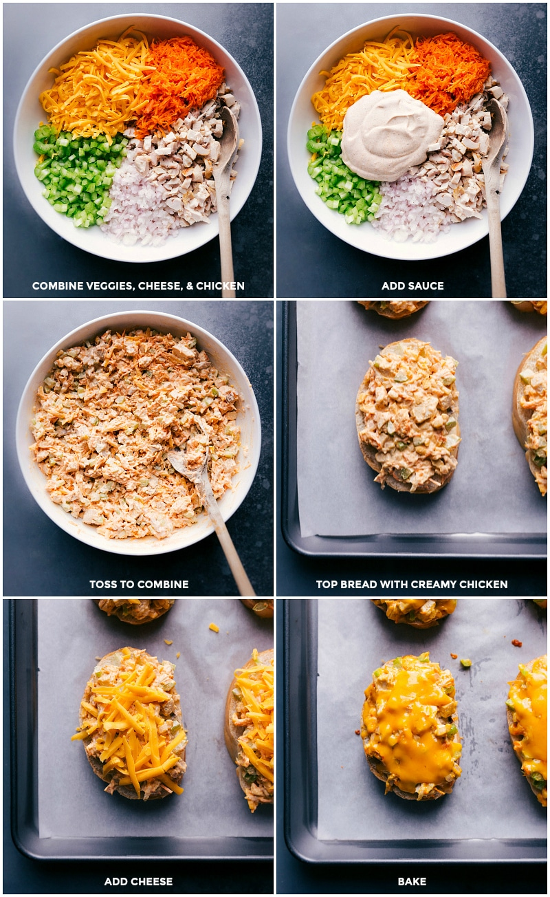 Process shots-- images of all the veggies, cheese, chicken and sauce being combined in a bowl and put on the French bread with cheese added on top.