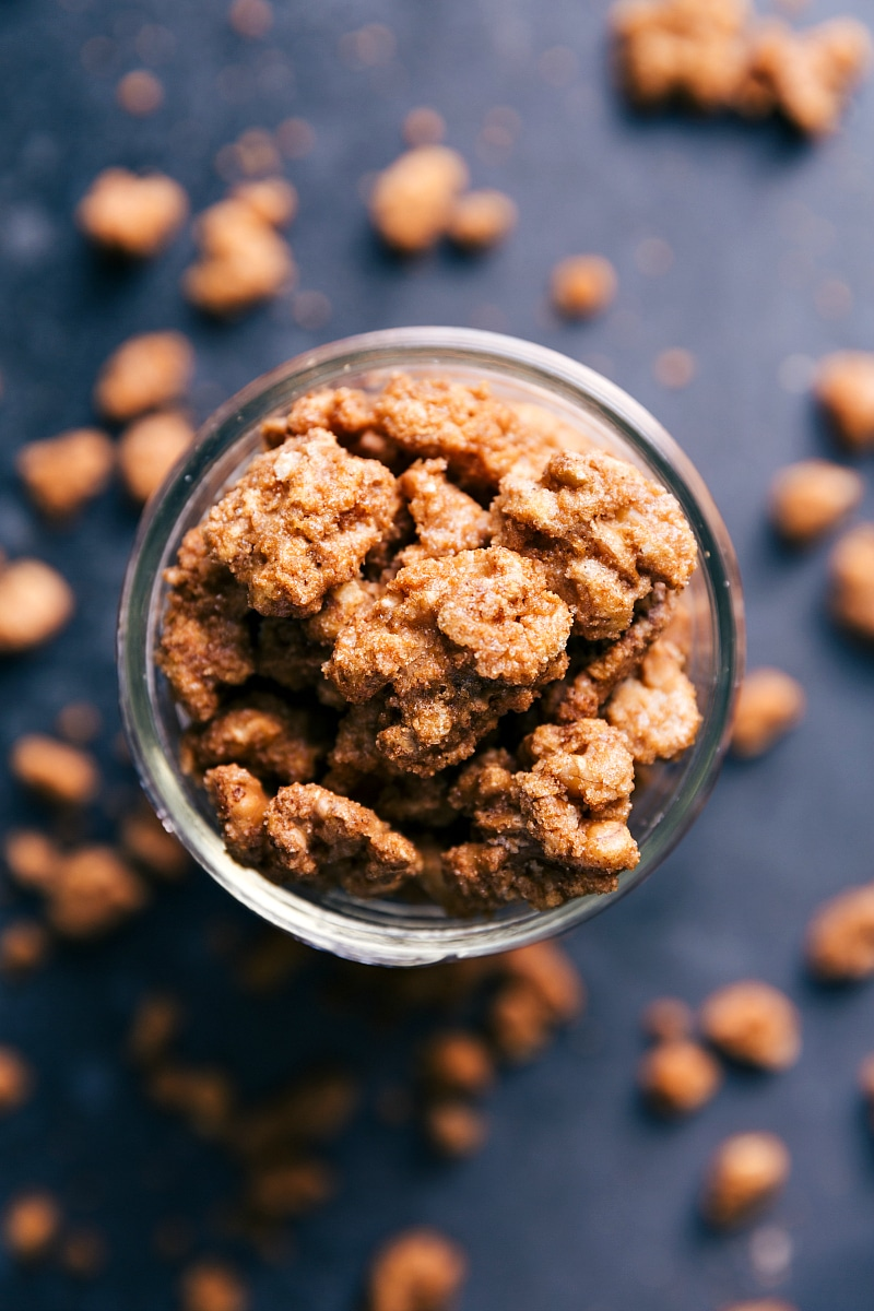 Overhead image of the candied walnuts