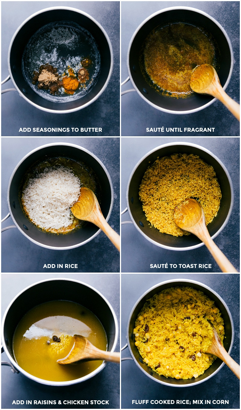Process shots-- images of the yellow rice being made.