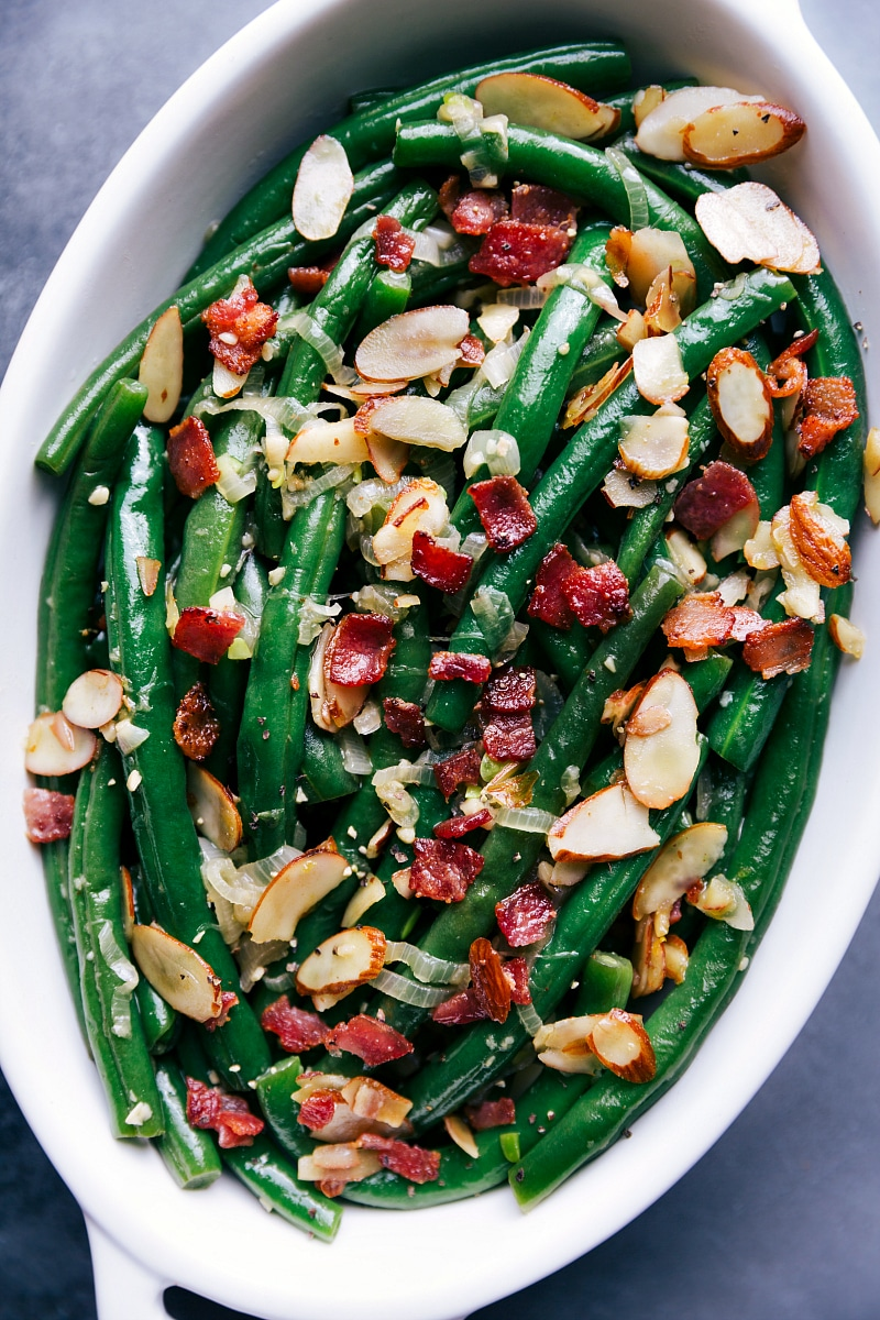 View of Green Beans in a serving bowl.
