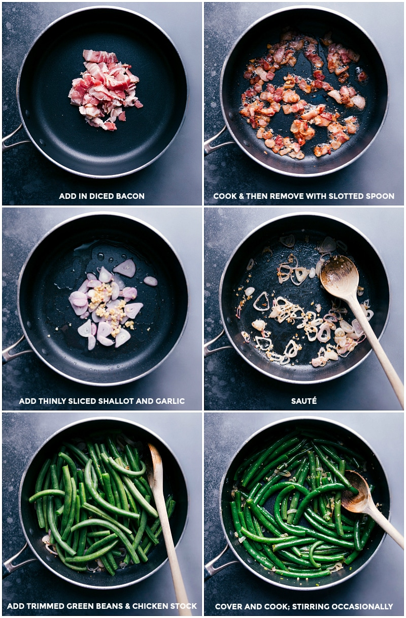 Process shots: Cook the bacon and drain; add shallot and garlic to the bacon grease and saute; add trimmed green beans and chicken stock; cover and cook until tender.