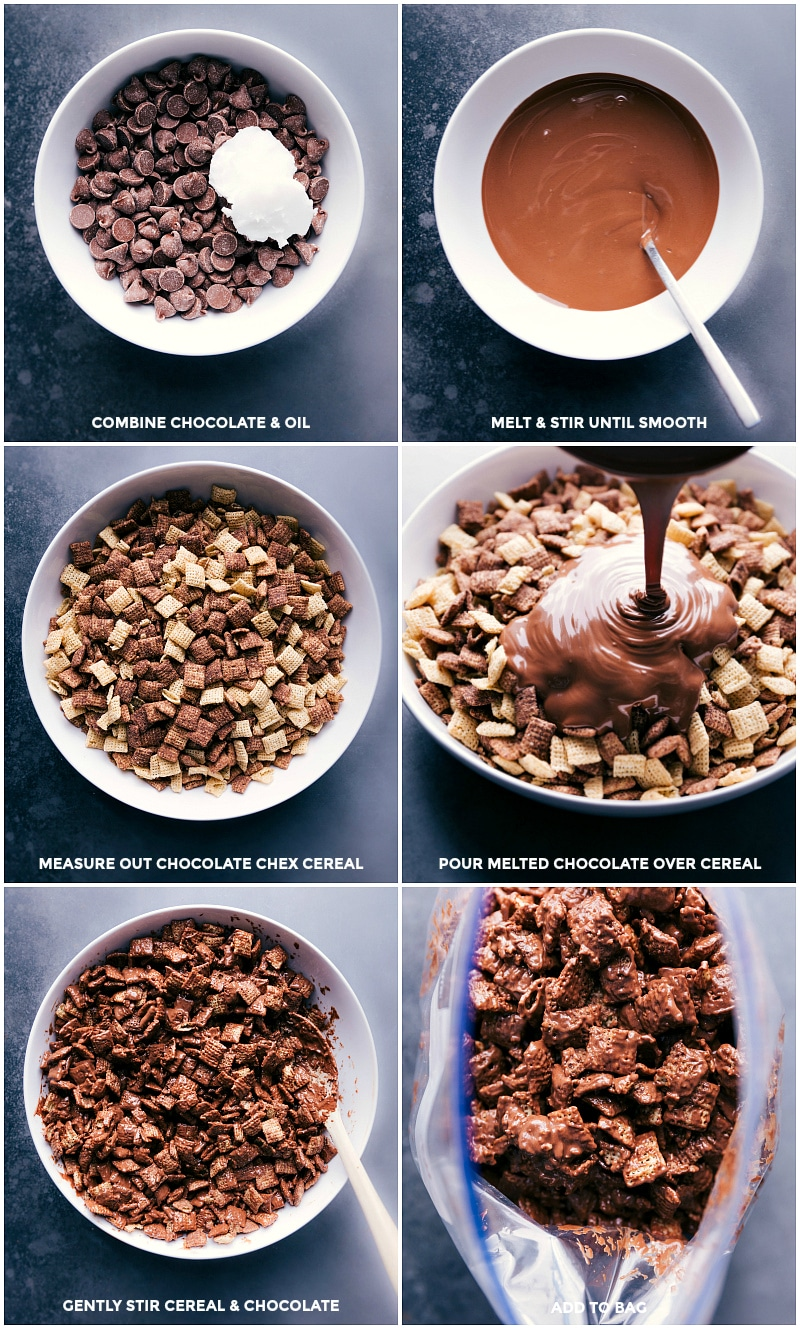 Process shots: combine chocolate and coconut oil; melt until smooth; put cereal in a large bowl; pour melted chocolate over the cereal; gently mix; add to plastic bag with hot cocoa mix and powdered sugar.