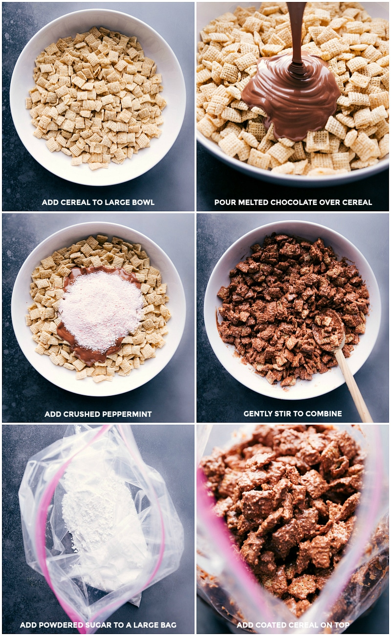 Process shots: place cereal in a large bowl; pour melted chocolate over the cereal; add crushed peppermint; gently stir to combine; place powdered sugar in a large plastic bag; add chocolate-coated cereal to the powdered sugar.