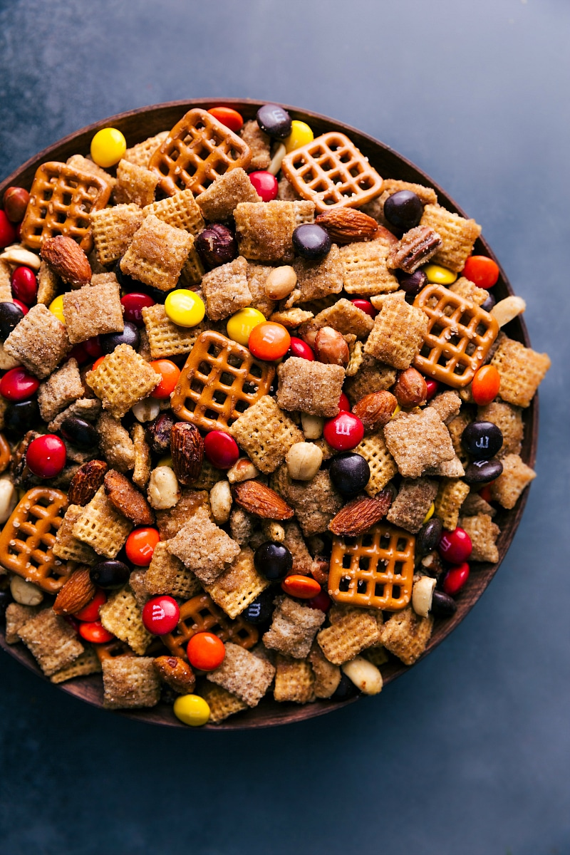 Overhead view of Pumpkin Spice Snack Mix.