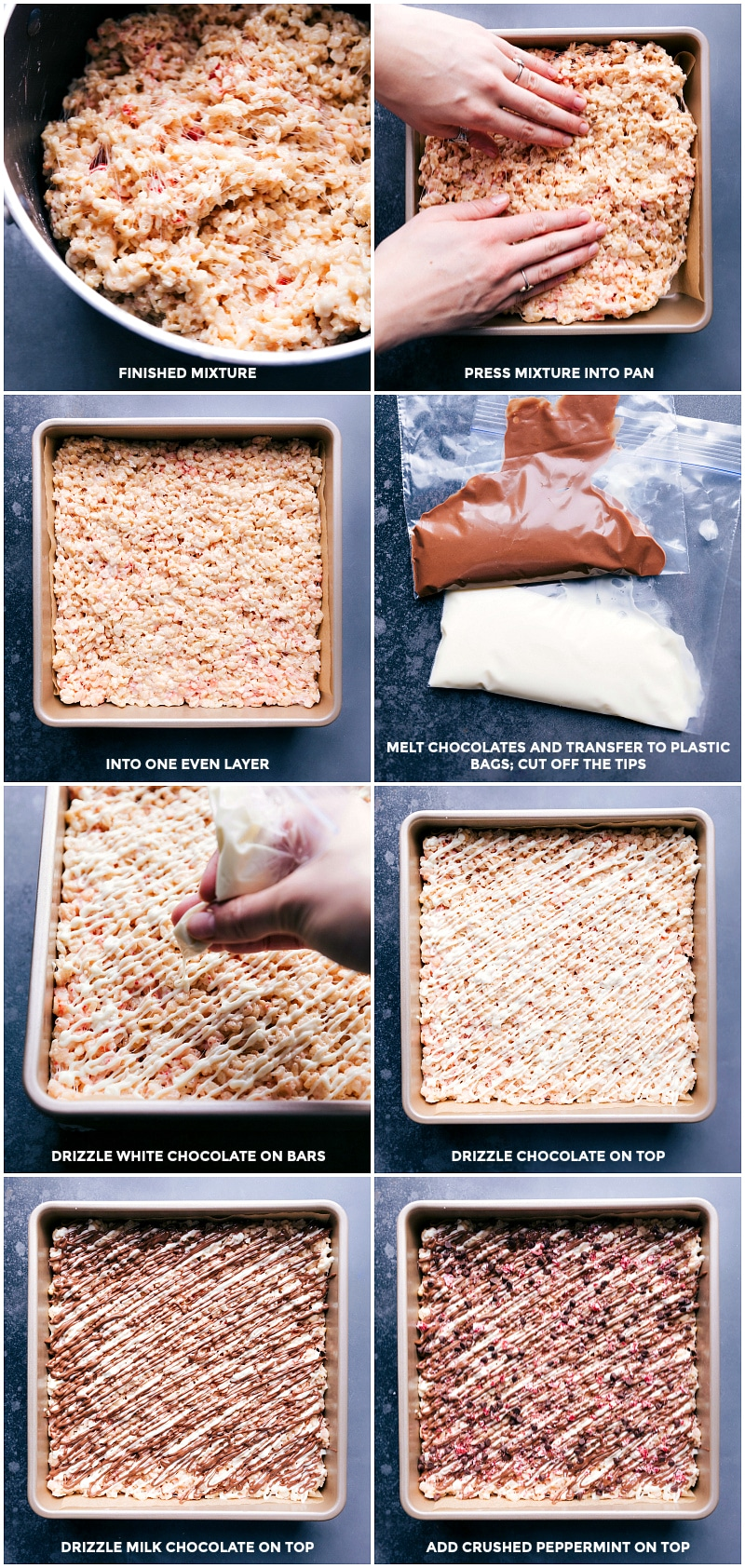 Process shots: Once krispie mixture is created, press into a pan; smooth into one layer; melt chocolates and transfer to plastic bags for piping; Drizzle with white chocolate; then milk chocolate; then crushed peppermint on top.