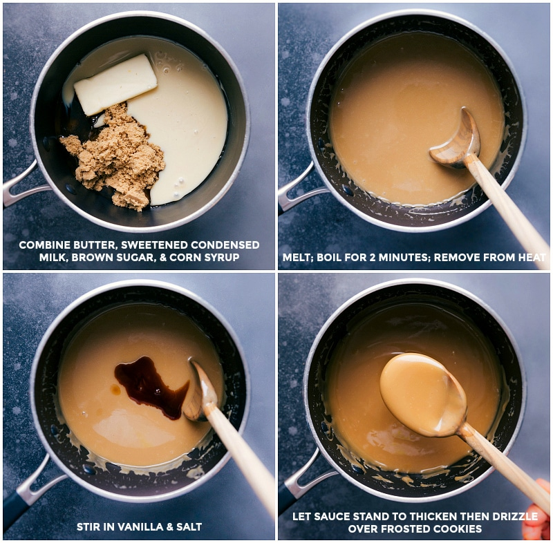 Caramel process shots: combine ingredients and boil for two minutes; remove from heat and stir in vanilla; let stand to thicken.