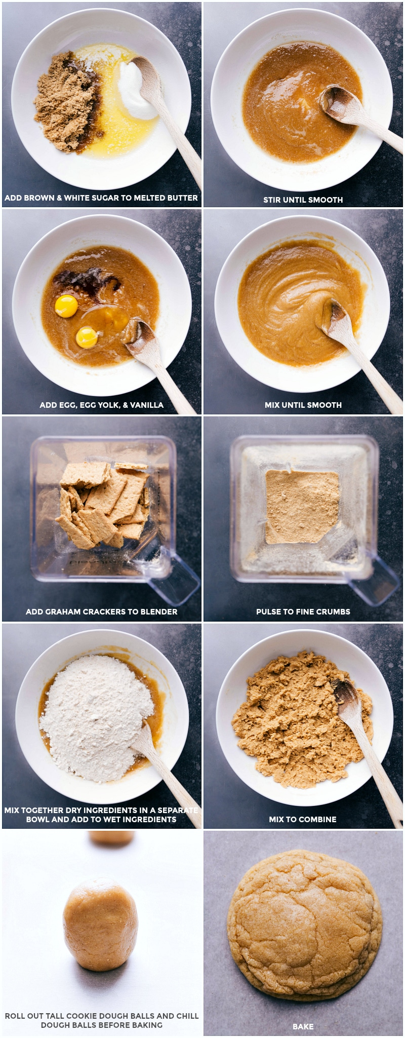 Process steps: Combine all the wet ingredients; blend the graham crackers to make crumbs; stir crumbs into the batter; shape into tall cylinders; bake.