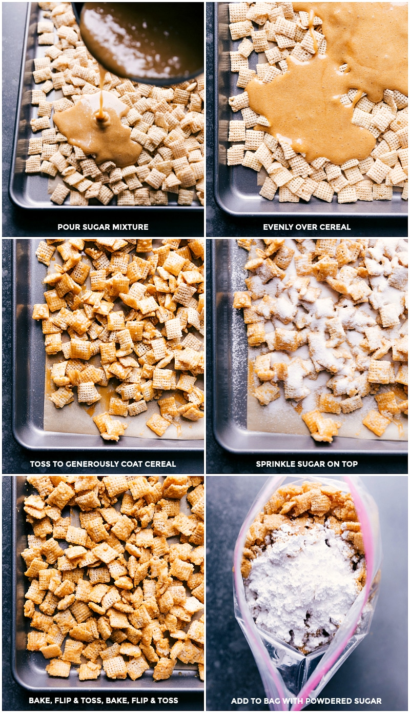 Process shots: pour syrup over the cereal; toss to coat; sprinkle sugar on top; bake, toss, bake more; add cooled mixture to a bag with powdered sugar.
