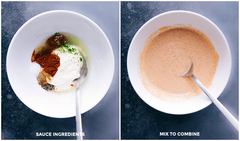 Photo of the sauce ingredients, before and after mixing.