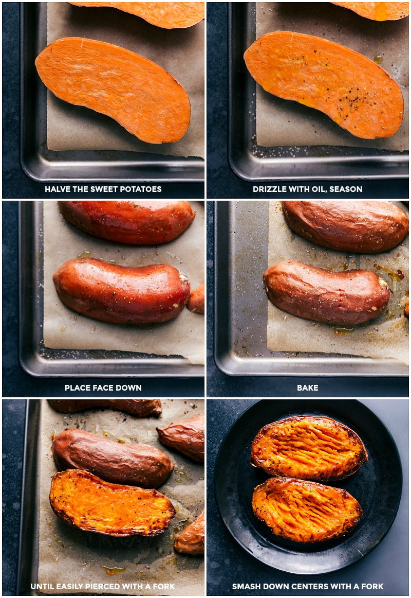 Process shots: halve the sweet potatoes; drizzle with oil and seasonings; bake face down until tender; smash down the centers with a fork.