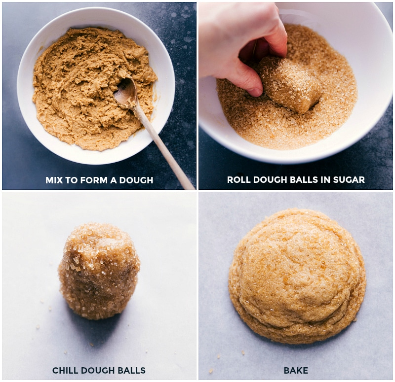 Process shots-- images of the dough being rolled into balls and rolled into sugar and then chilled and baked.