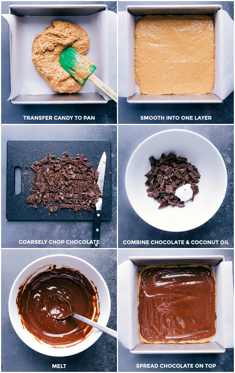 Process shots: transfer candy to a pan and smooth into a layer; coarsely chop chocolate; combine with coconut oil; melt and spread over the candy.