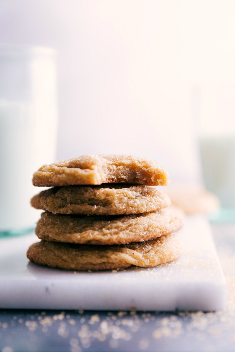 Image of the Brown Sugar Cookies stacked on top of each other.