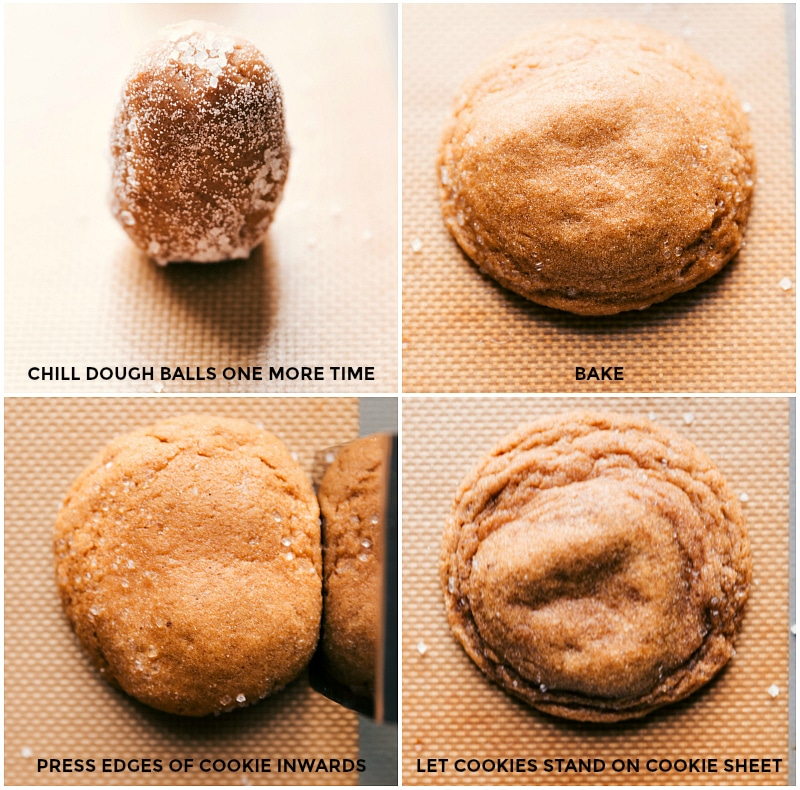 Process shots: chill sugar-coated dough balls again; bake; press edges inward to create crispy edges; let stand on the cookie sheet.