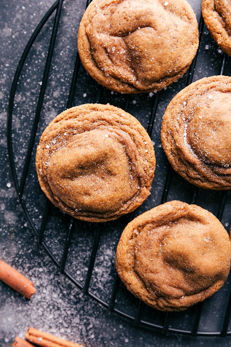 Image of the baked Gingersnaps on a cooling rack.