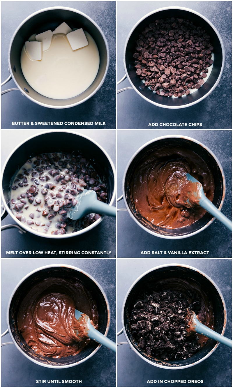 Process shots: Heat the butter and condensed milk; add chocolate; melt over low heat; add salt and vanilla; stir until smooth; add chopped cookies.