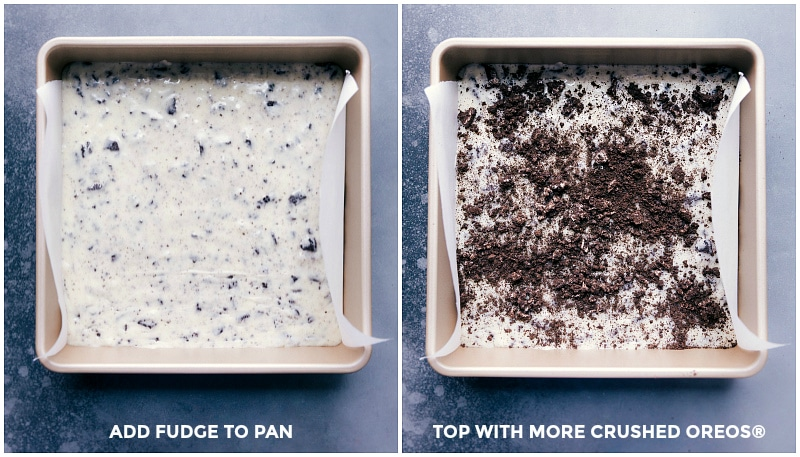 Images of the fudge spread into the pan; topped with additional crushed Oreos.