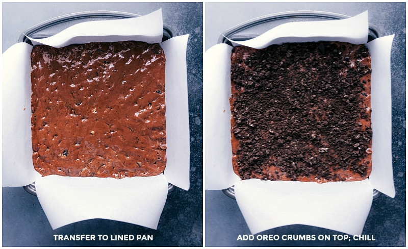 Views of the fudge spread into the lined pan and then with Oreo crumbs sprinkled on top.