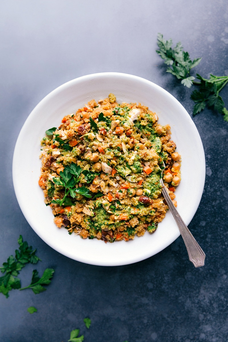 Overhead image of Quinoa Pilaf in a large serving bowl.