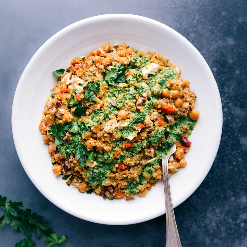 Overhead image of Quinoa Pilaf with the sauce over top ready to be served.