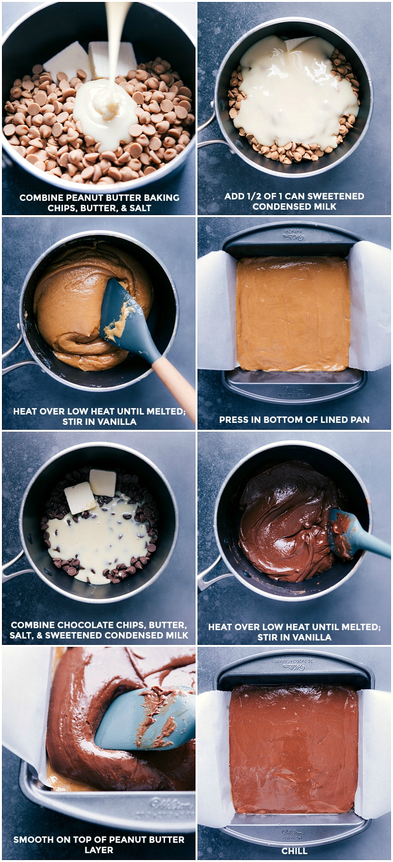 Process shots: combining and melting the ingredients for the peanut butter layer; spreading in a pan; combining and melting ingredients for the chocolate layer; spreading into the pan.
