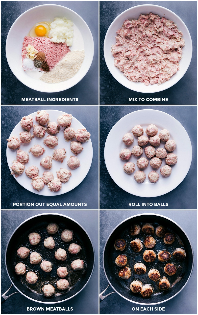 Process shots: Swedish Meatball ingredients; mix, portion and roll; brown on each side.