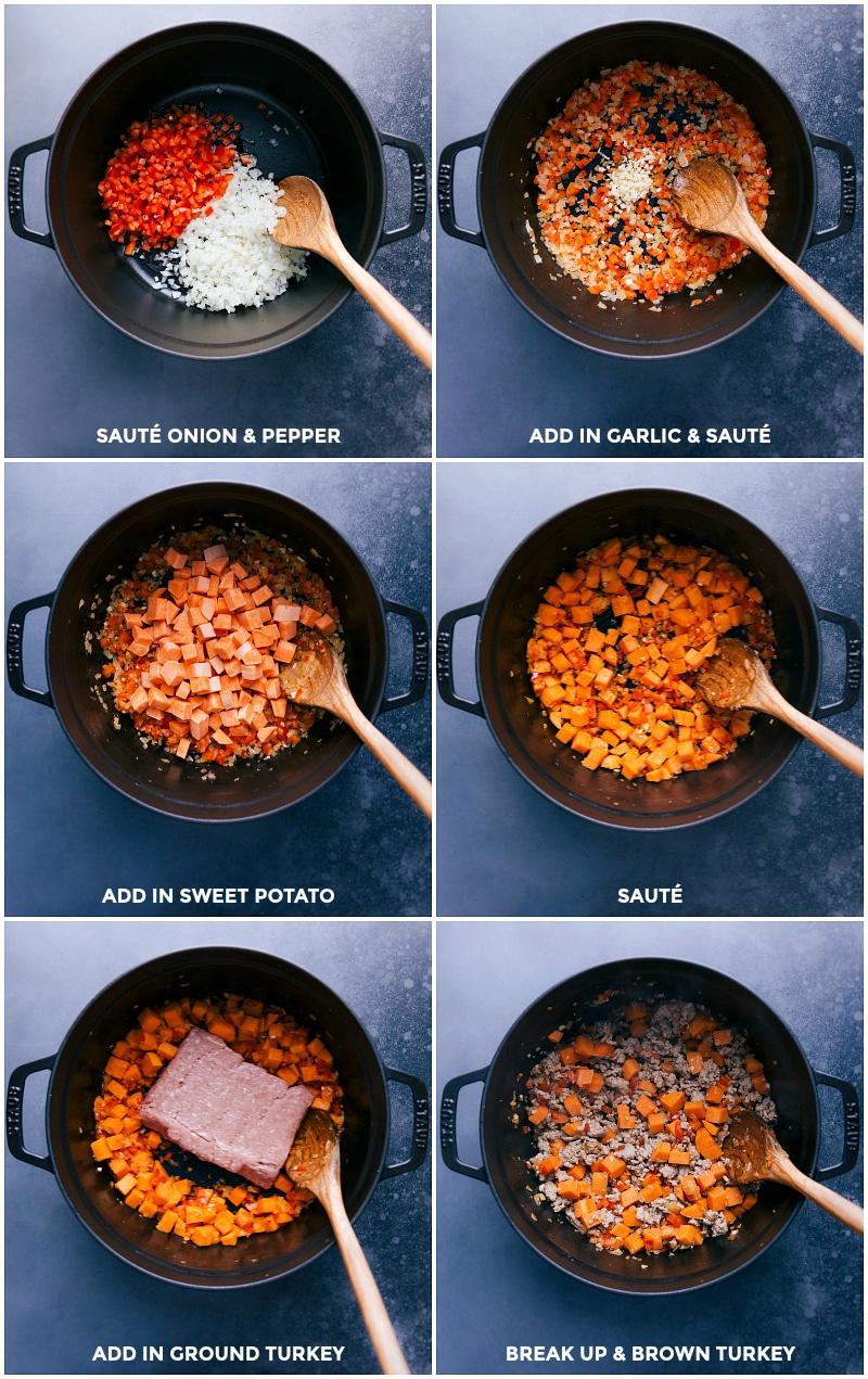 Process shots: sautéing the veggies and ground turkey.