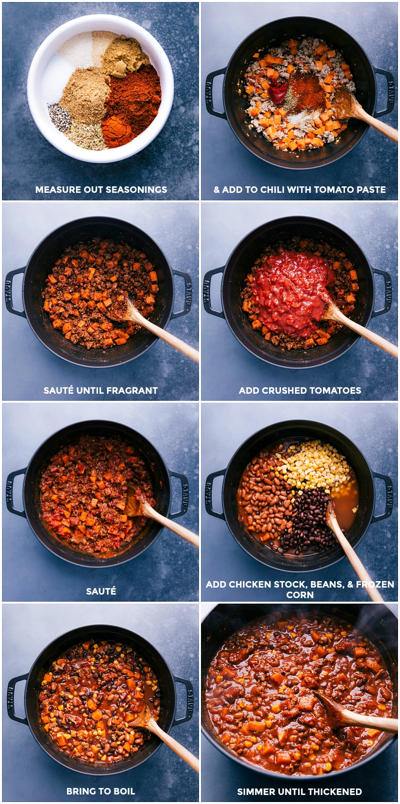 Process shots: adding the spices and tomatoes to the pan; adding stock, beans and corn; simmering until thick and tender.