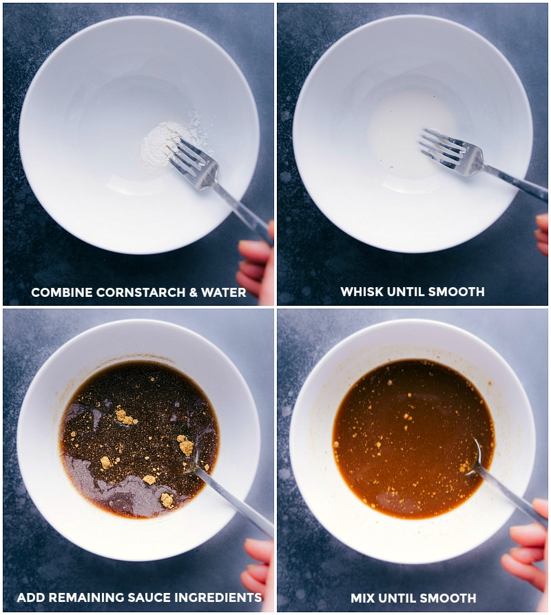 Process shots of making Asian Ground Turkey: create the sauce by combining cornstarch and other ingredients.