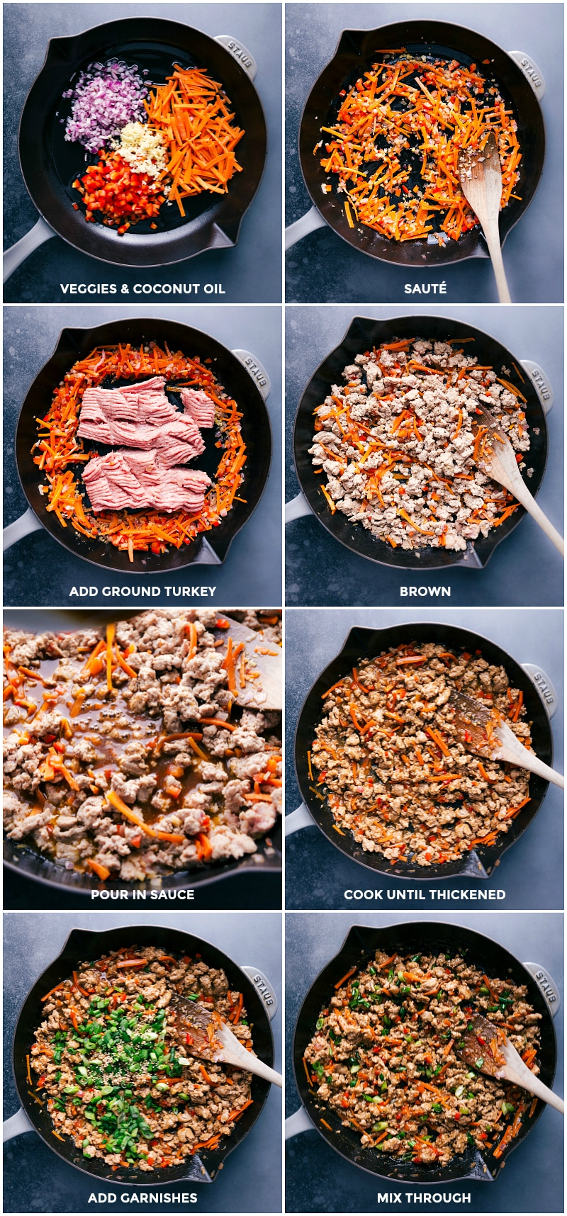 Process shots for making Asian Ground Turkey: cooking the veggies and turkey.