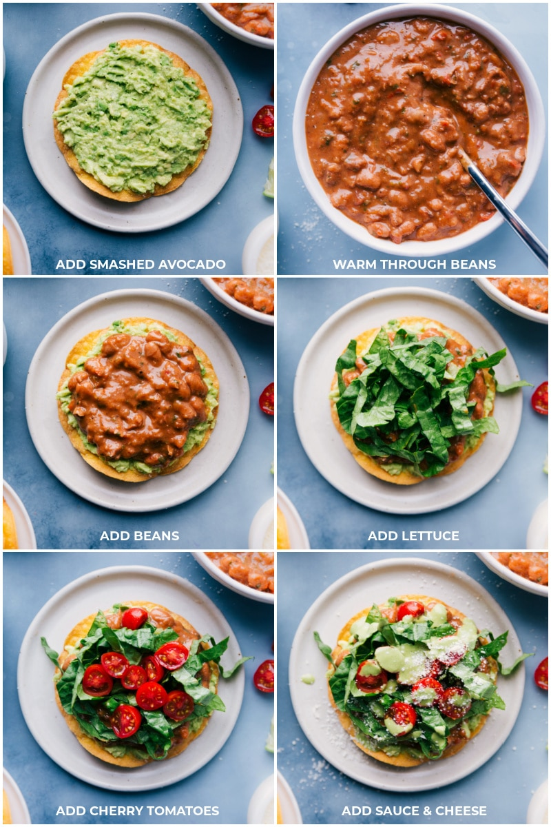 Process shots-- images of the assembly of the Bean Tostadas, first the smashed avocado goes on the tortilla, then the beans, lettuce, tomatoes, and then sauce and cheese.