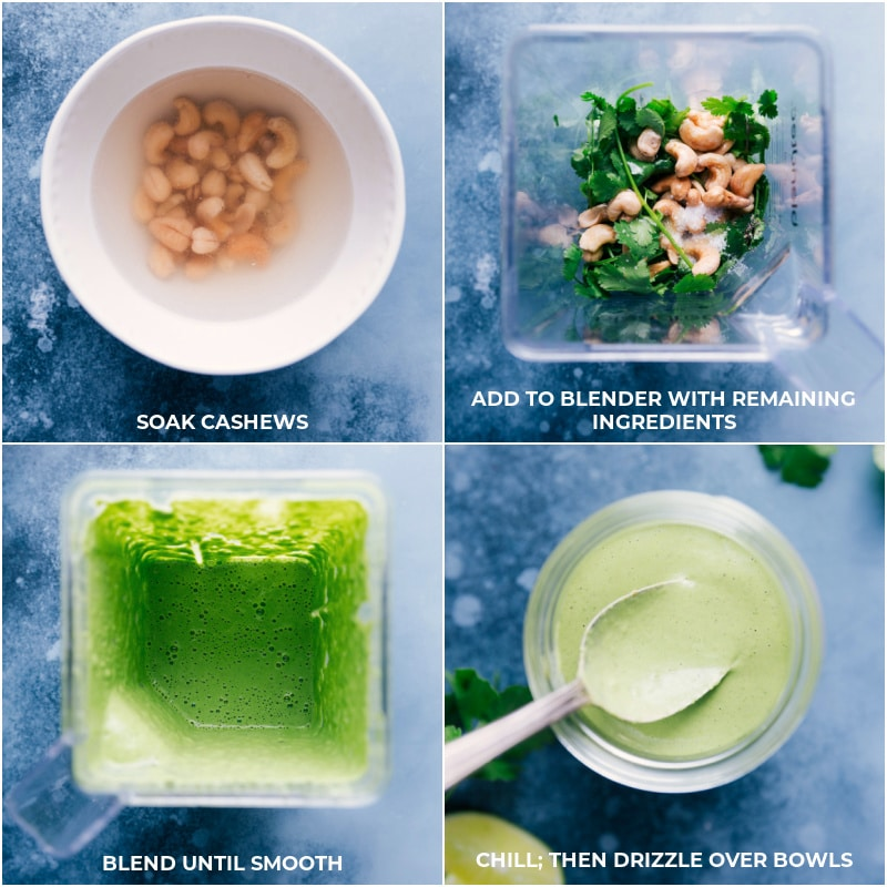 Process shots to make the cashew-cilantro sauce: soak cashews, blend with the remaining ingredients; chill; drizzle over the Black Bean Bowls.