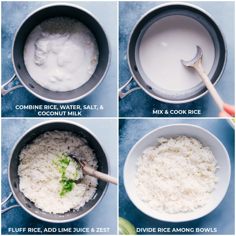 Process shots for making Coconut-Lime Rice: Combine rice, water, salt and coconut milk; mix and cook until rice is tender; fluff rice, add lime juice and zest; divide among the bowls.