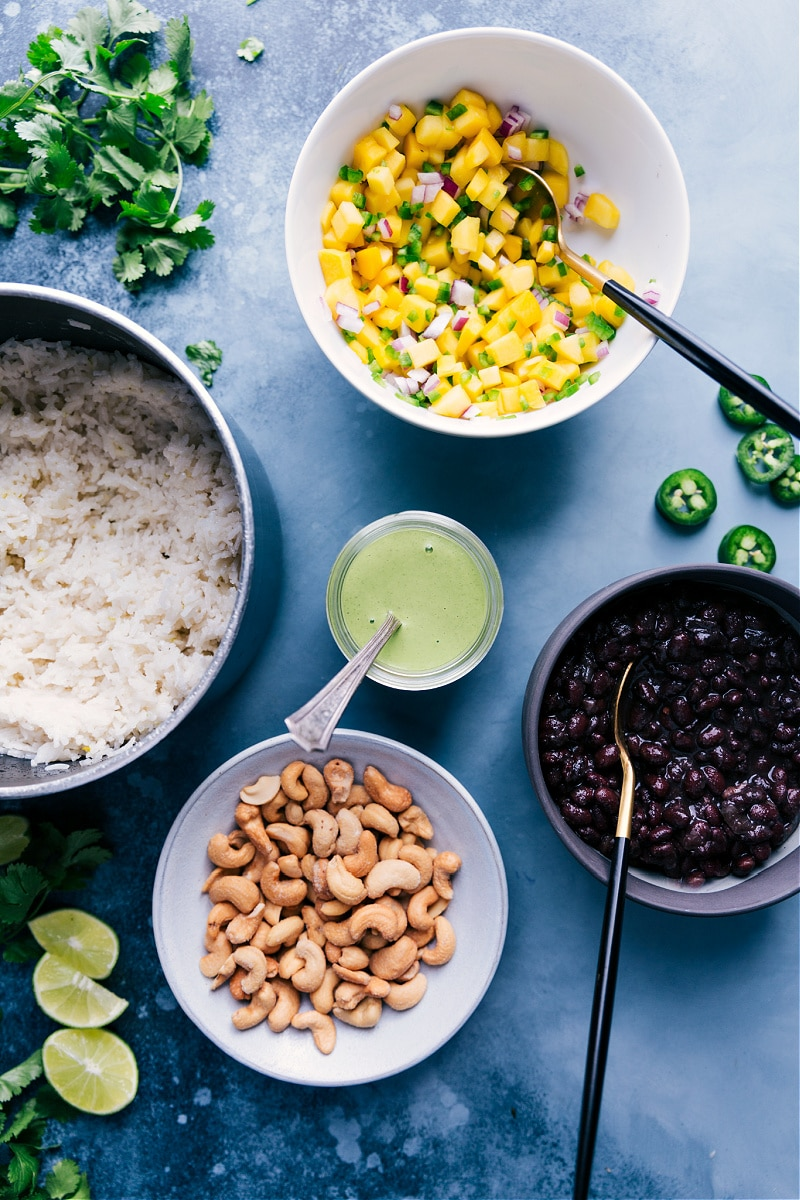 Overhead view of the components of Black Bean Bowls.